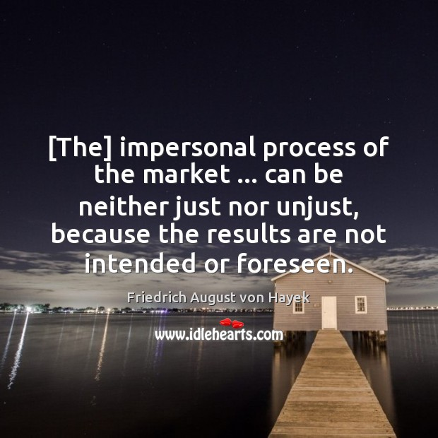 [The] impersonal process of the market … can be neither just nor unjust, Image