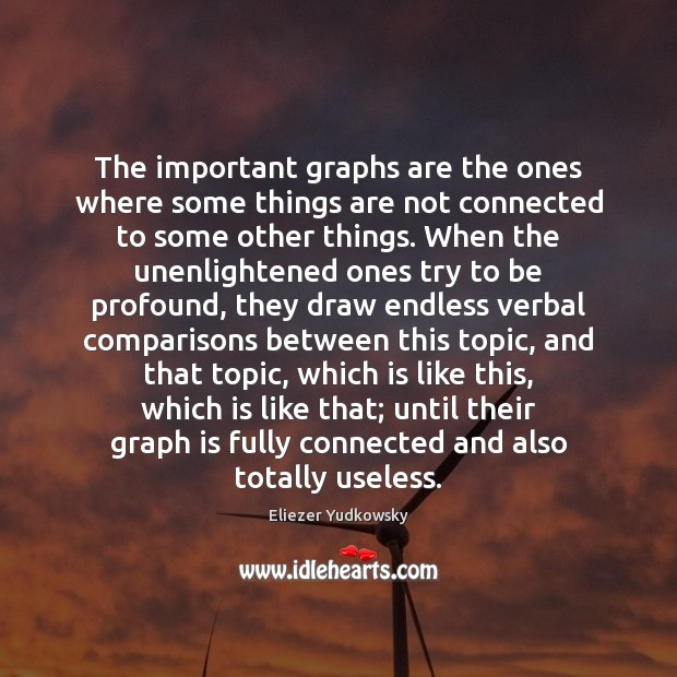 The important graphs are the ones where some things are not connected Eliezer Yudkowsky Picture Quote