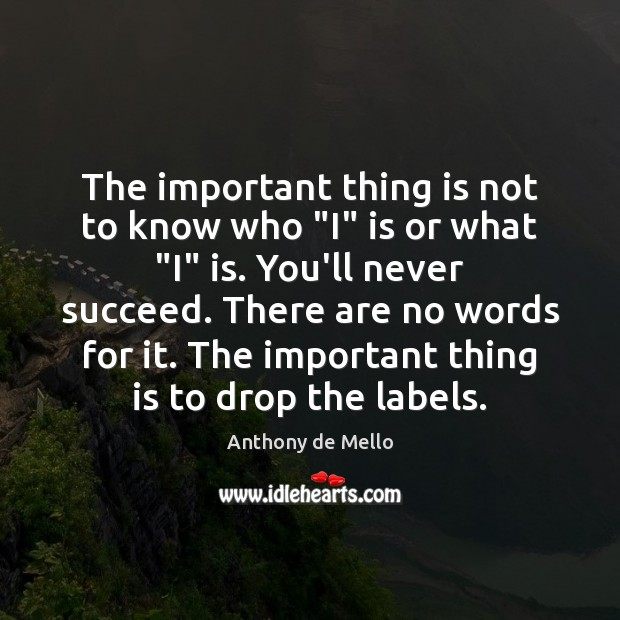 """The important thing is not to know who """"I"""" is or what """" Anthony de Mello Picture Quote"""