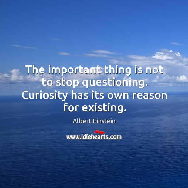 Image, The important thing is not to stop questioning. Curiosity has its own reason for existing.
