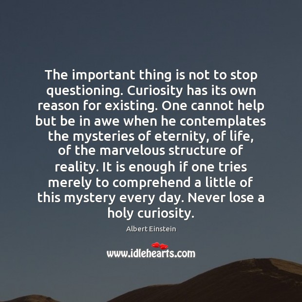 Image, The important thing is not to stop questioning. Curiosity has its own