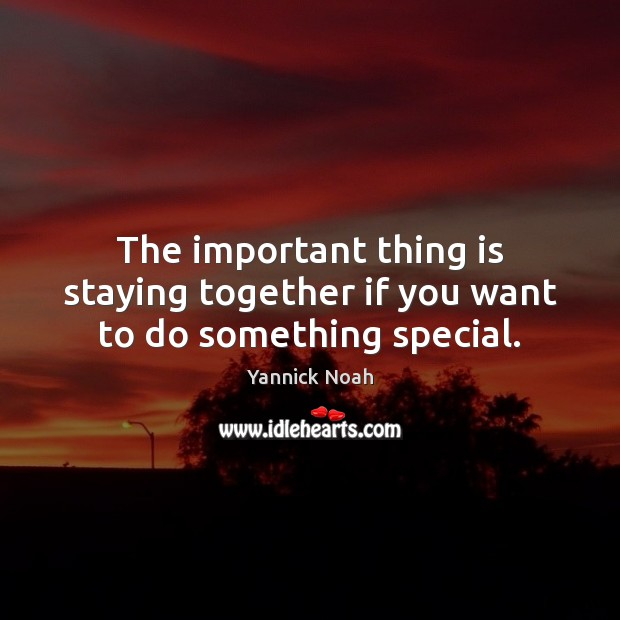 The important thing is staying together if you want to do something special. Yannick Noah Picture Quote