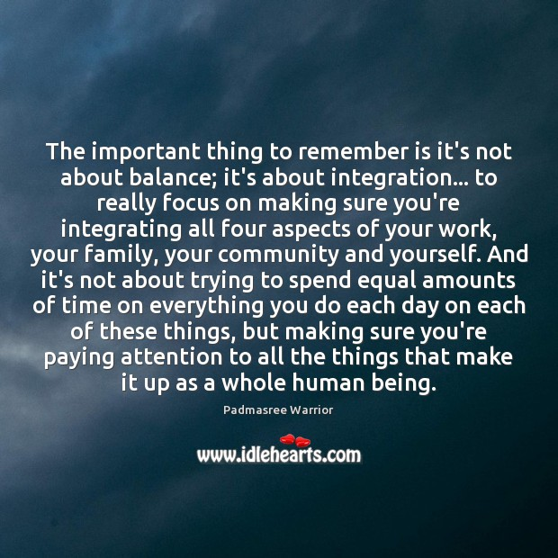 The important thing to remember is it's not about balance; it's about Image