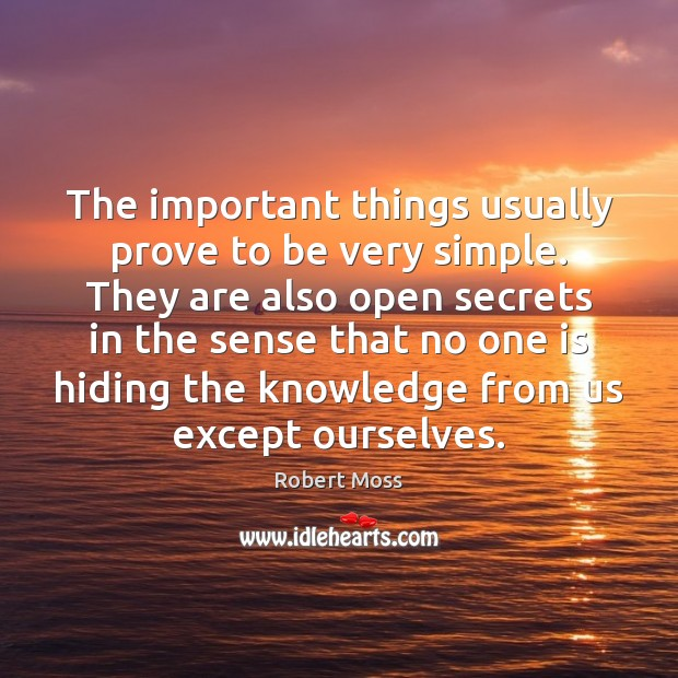 The important things usually prove to be very simple. They are also Image