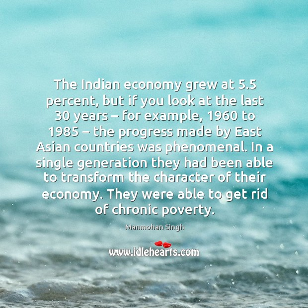 The indian economy grew at 5.5 percent, but if you look at the last 30 years – for example, 1960 to 1985 Image