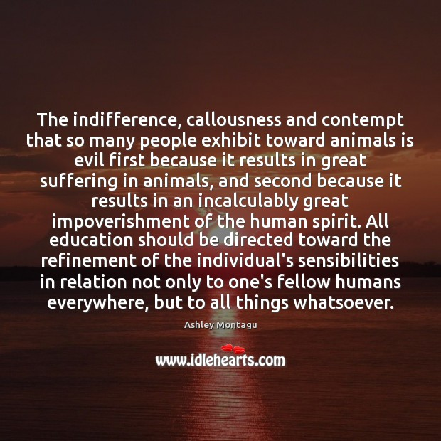 Image, The indifference, callousness and contempt that so many people exhibit toward animals