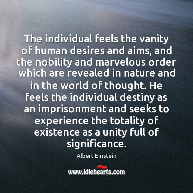The individual feels the vanity of human desires and aims, and the Image