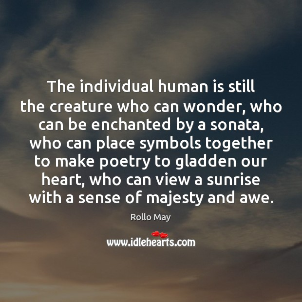 The individual human is still the creature who can wonder, who can Rollo May Picture Quote