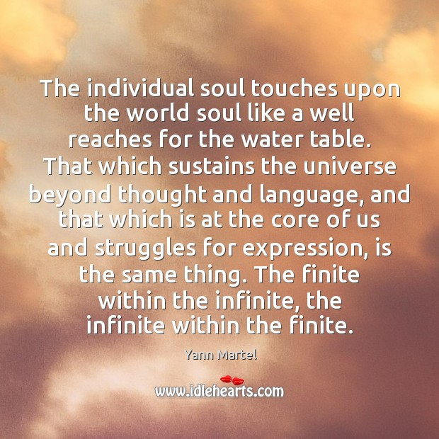 The individual soul touches upon the world soul like a well reaches Image