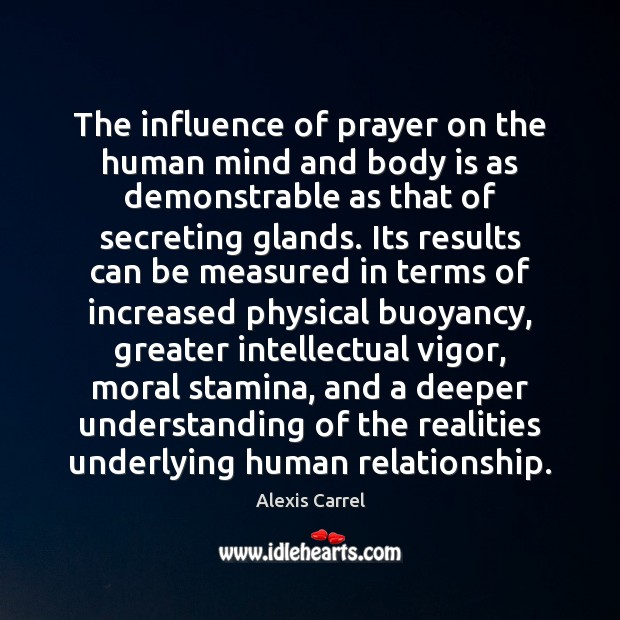 The influence of prayer on the human mind and body is as Image