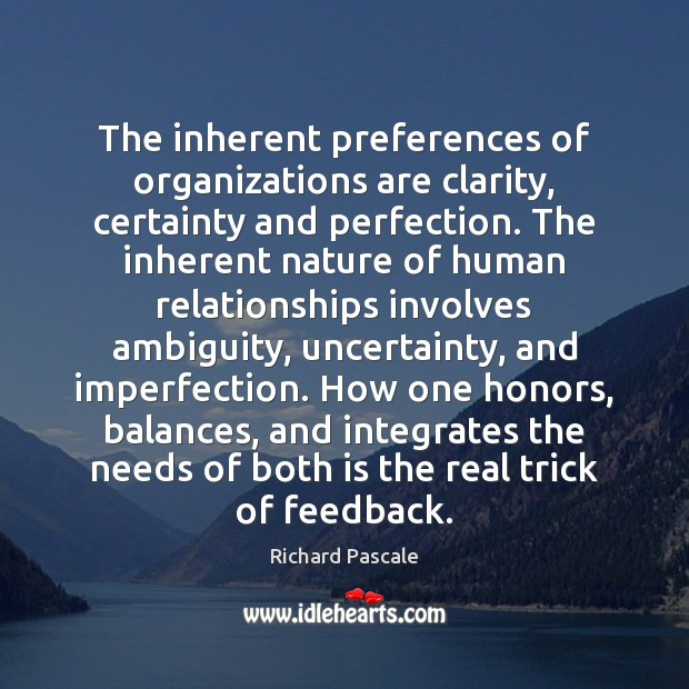 The inherent preferences of organizations are clarity, certainty and perfection. The inherent Imperfection Quotes Image