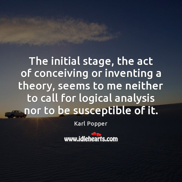 The initial stage, the act of conceiving or inventing a theory, seems Image