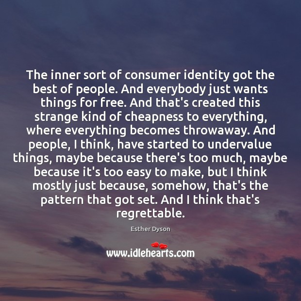 The inner sort of consumer identity got the best of people. And Esther Dyson Picture Quote