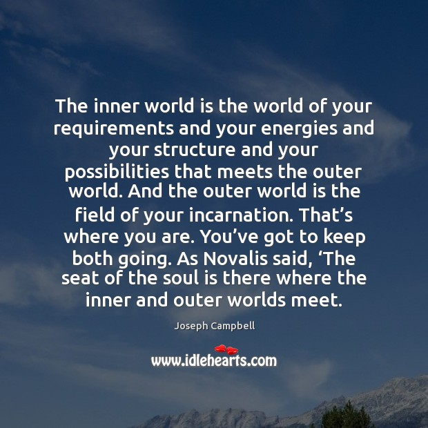The inner world is the world of your requirements and your energies Image