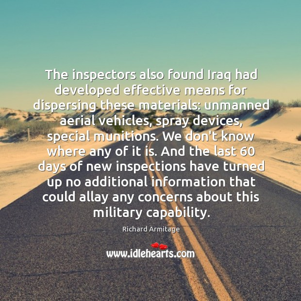 The inspectors also found Iraq had developed effective means for dispersing these Image