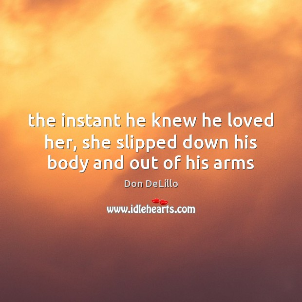 The instant he knew he loved her, she slipped down his body and out of his arms Don DeLillo Picture Quote
