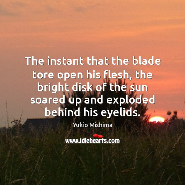 The instant that the blade tore open his flesh, the bright disk Image