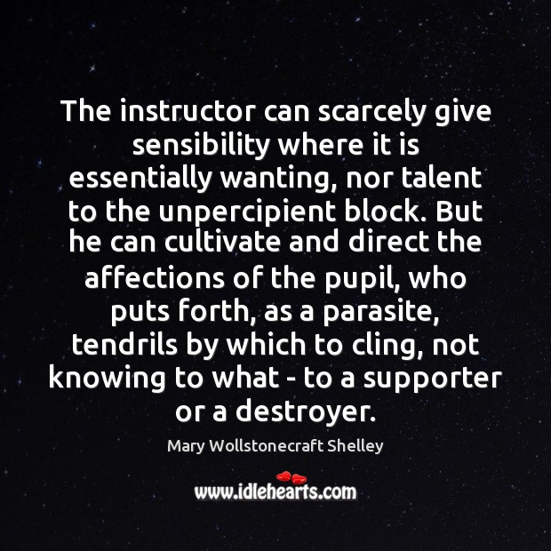 The instructor can scarcely give sensibility where it is essentially wanting, nor Image
