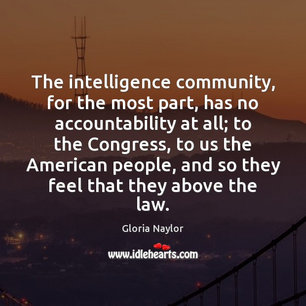 The intelligence community, for the most part, has no accountability at all; Gloria Naylor Picture Quote