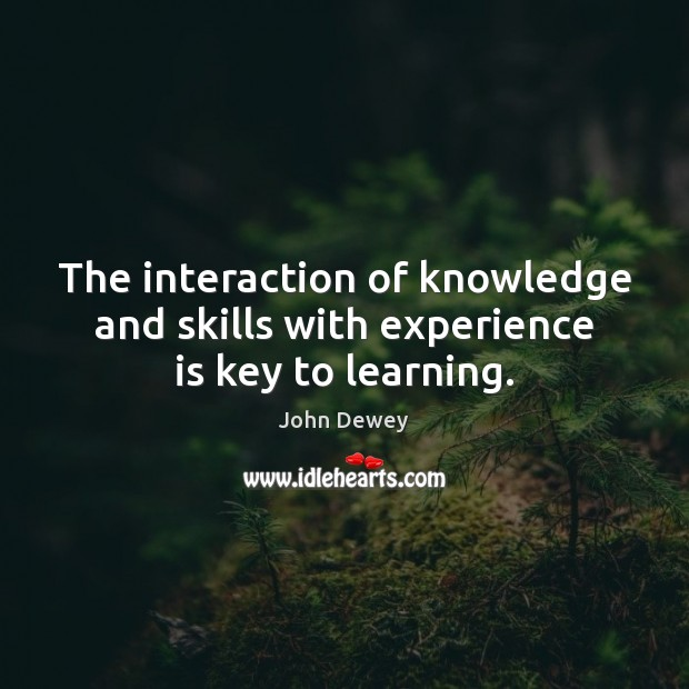 The interaction of knowledge and skills with experience is key to learning. John Dewey Picture Quote