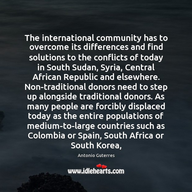 Image, The international community has to overcome its differences and find solutions to