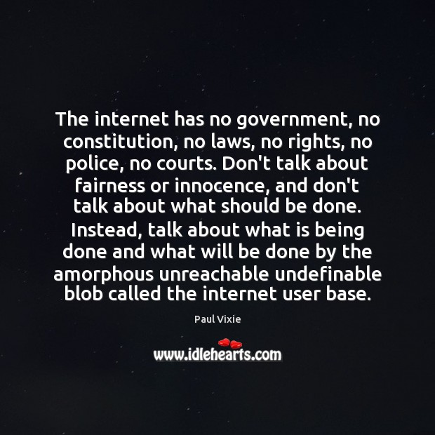 The internet has no government, no constitution, no laws, no rights, no Paul Vixie Picture Quote