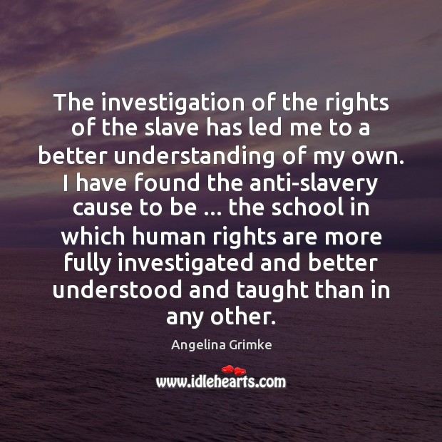 Image, The investigation of the rights of the slave has led me to