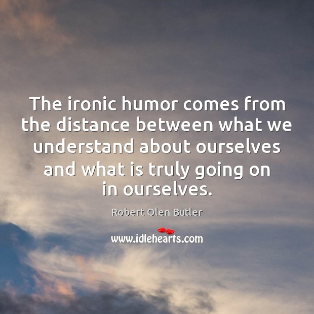 The ironic humor comes from the distance between what we understand about Image
