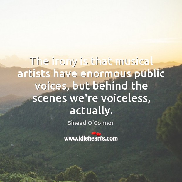 The irony is that musical artists have enormous public voices, but behind Image