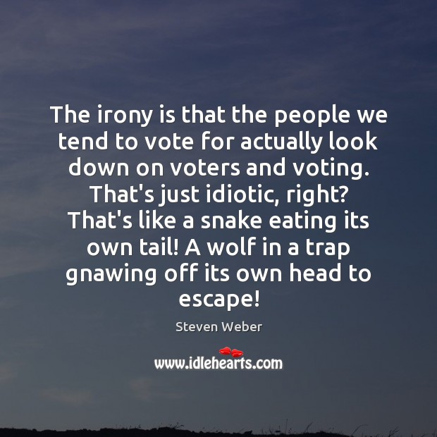 The irony is that the people we tend to vote for actually Vote Quotes Image