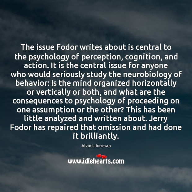 Image, The issue Fodor writes about is central to the psychology of perception,