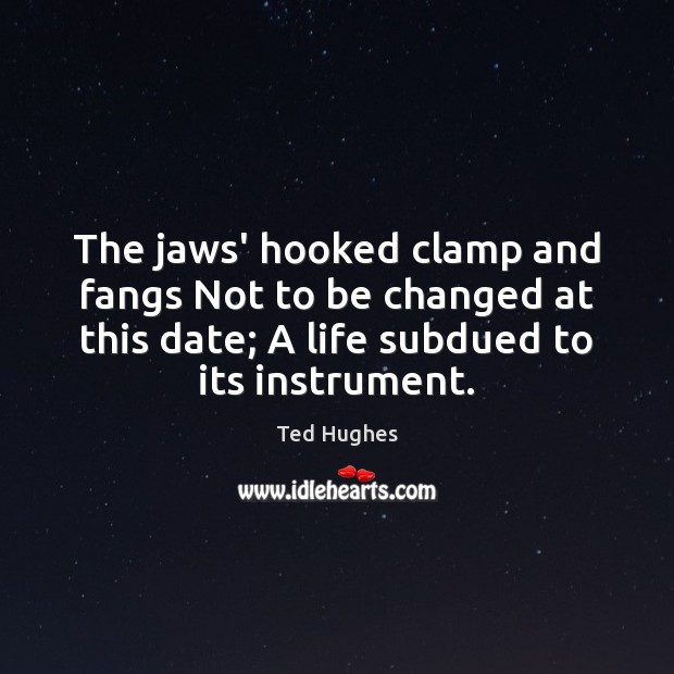 The jaws' hooked clamp and fangs Not to be changed at this Ted Hughes Picture Quote
