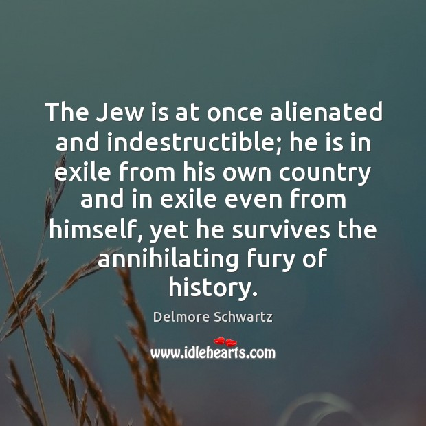 Image, The Jew is at once alienated and indestructible; he is in exile