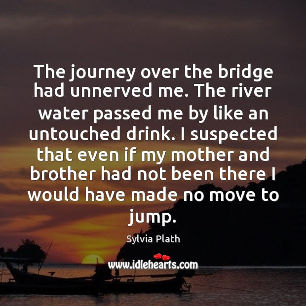 The journey over the bridge had unnerved me. The river water passed Image