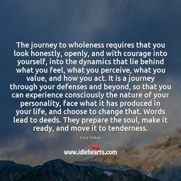 The journey to wholeness requires that you look honestly, openly, and with Image