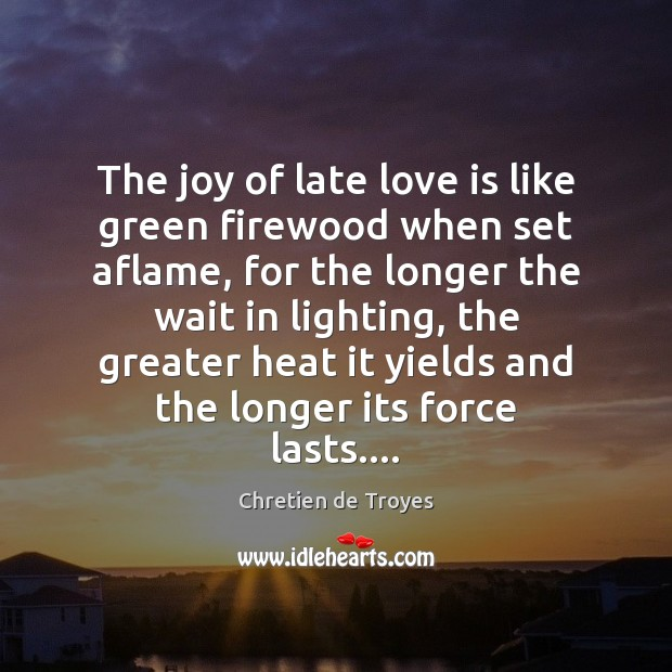The joy of late love is like green firewood when set aflame, Image