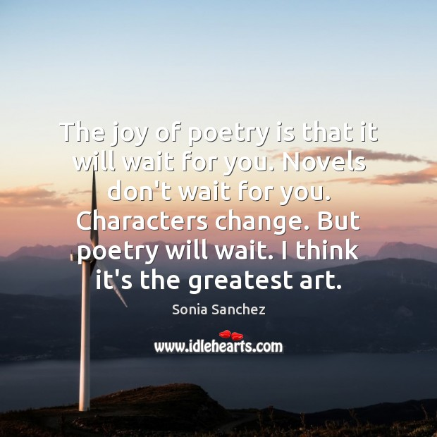 The joy of poetry is that it will wait for you. Novels Poetry Quotes