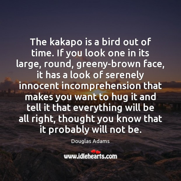 The kakapo is a bird out of time. If you look one Hug Quotes Image