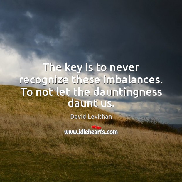 The key is to never recognize these imbalances. To not let the dauntingness daunt us. David Levithan Picture Quote