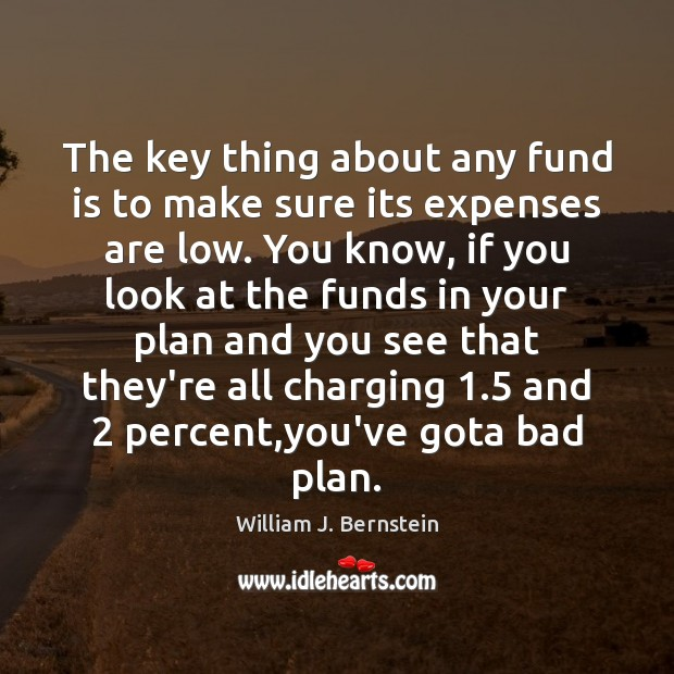 The key thing about any fund is to make sure its expenses Image