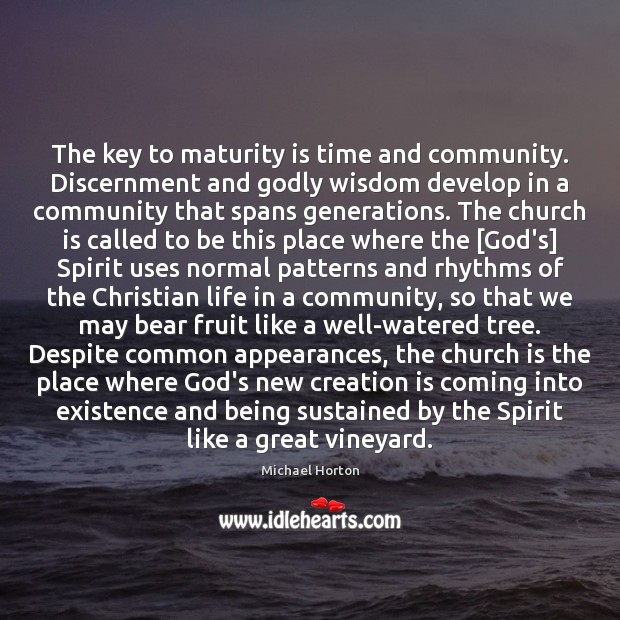 The key to maturity is time and community. Discernment and Godly wisdom Maturity Quotes Image