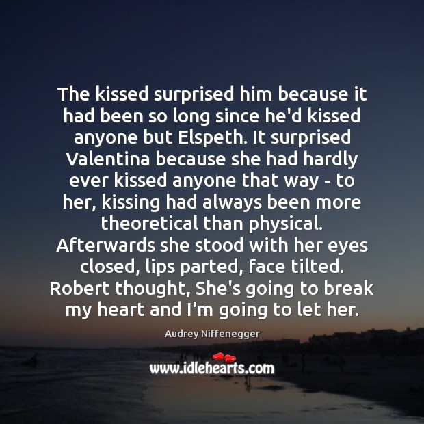 Image, The kissed surprised him because it had been so long since he'd