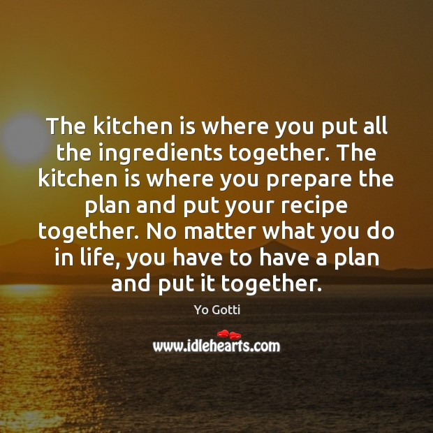 The kitchen is where you put all the ingredients together. The kitchen Image