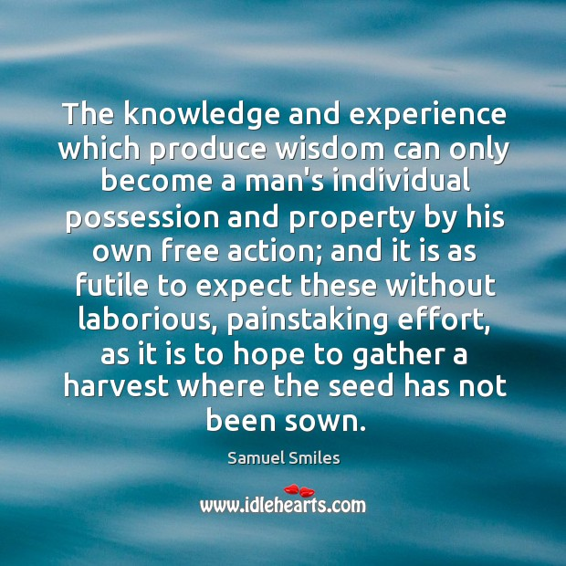 The knowledge and experience which produce wisdom can only become a man's Image
