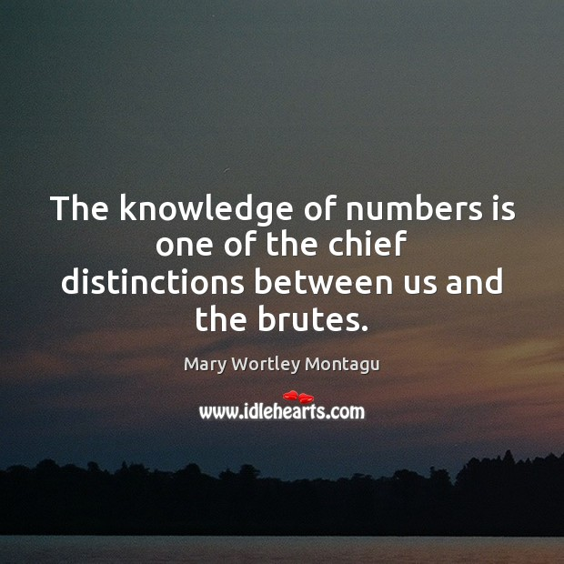 The knowledge of numbers is one of the chief distinctions between us and the brutes. Mary Wortley Montagu Picture Quote