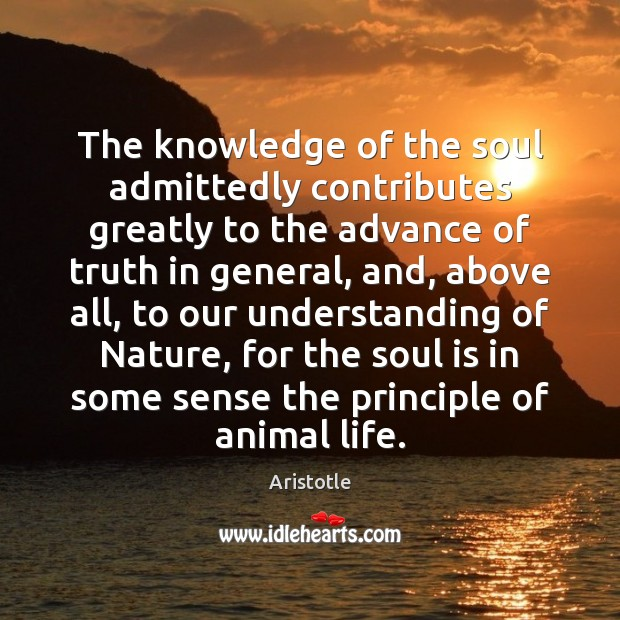Image, The knowledge of the soul admittedly contributes greatly to the advance of