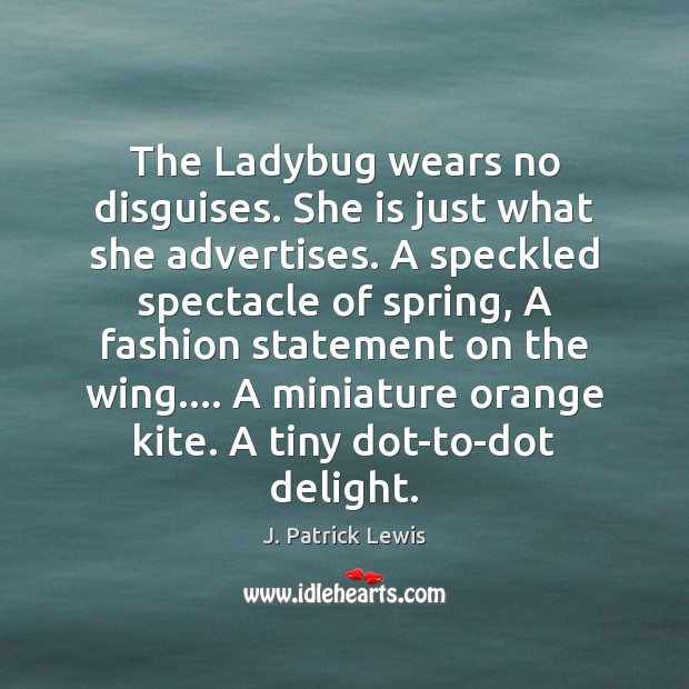 Image, The Ladybug wears no disguises. She is just what she advertises. A