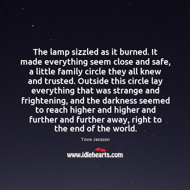 The lamp sizzled as it burned. It made everything seem close and Tove Jansson Picture Quote