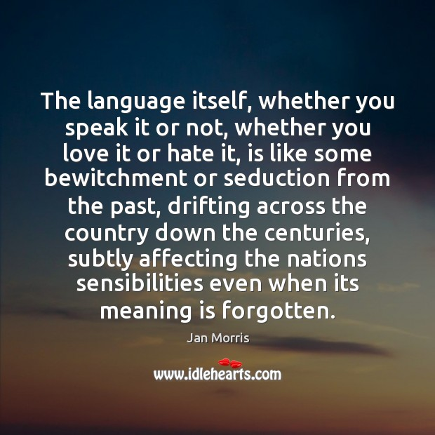 The language itself, whether you speak it or not, whether you love Image
