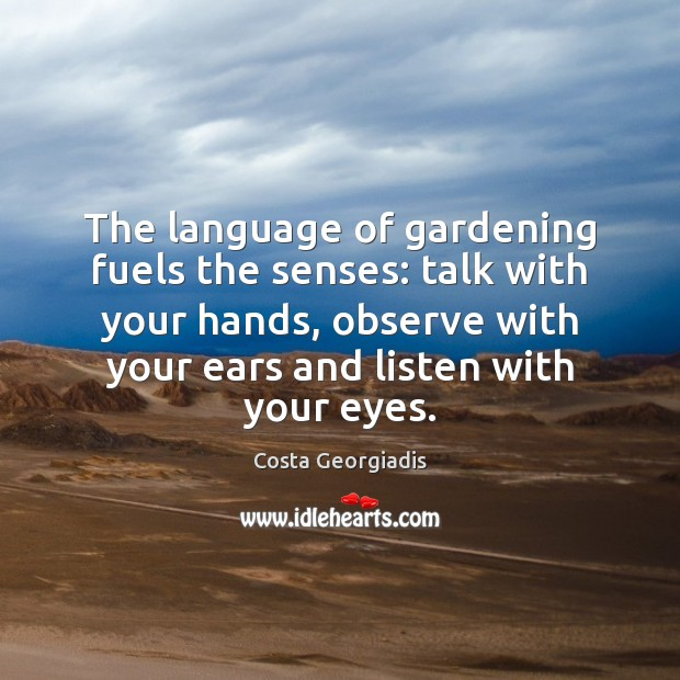 The language of gardening fuels the senses: talk with your hands, observe Image